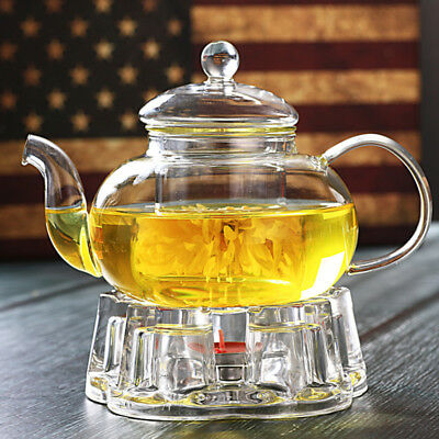 Resistant Glass Teapot Infuser Filter Herbal Coffee Tea Pot Leaf Strainer Kettle