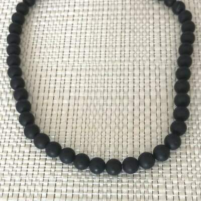 Mens Matte Black Onyx Beaded Long and Short 6mm Necklaces Jewelry Gifts