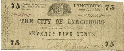 1862 City Of Lynchburg, Virginia ~ 75 Cents Confederate Civil War Currency Note