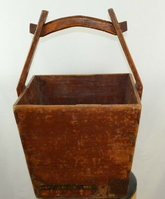 Antique Asian Rice Carrier Very Large Wood with Red Paint Added Metal Marked