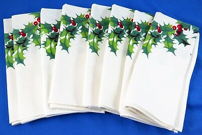 Lot 8 Vintage WILENDUR HOLLY Leaves & Berries CHRISTMAS Napkins Minty