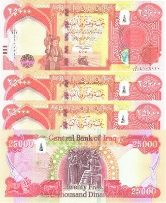 100000 (4 x 25000) NEW IRAQI DINARS 2015 WITH NEW SECURITY FEATURES IQD-UNC