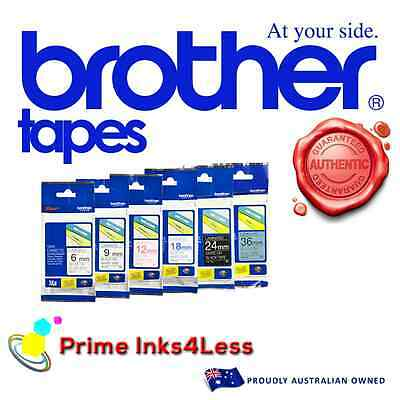 1x Genuine Brother M-K621 MK621 9mm Black Text on Yellow Tape P-Touch Tape - 8m