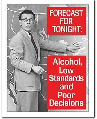 Tonight's Forecast Alcohol And Low Standards Metal Tin Sign Humor Funny Beer New