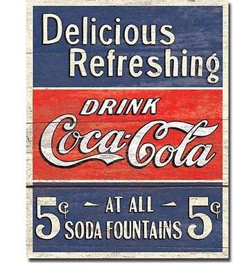 "Coca Cola Metal Sign Coke Delicious Refreshing Tin Vintage Retro, Bar 12"" X 16"""