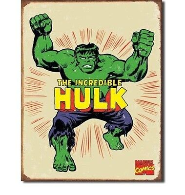 INCREDIBLE HULK Metal Sign Tin RETRO Antique Vintage Look Superhero Marvel Comic