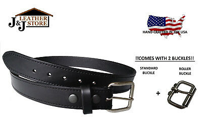 "J&J Heavy Duty 1.5"" Genuine Leather Ccw Gun Carry Work Belt Usa Handmade - Black"