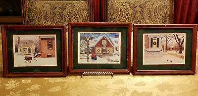 3 Vintage 1998 Christmas Paintings by Ned Young Framed & Matted Art Prints