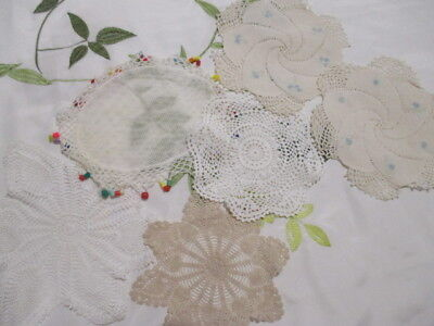 Retro Mixture of 4 Crocheted Doilies + Beaded Jug Cover. KITSCH and CUTE!