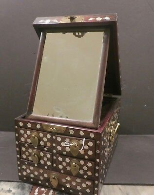 Antique Chinese hardwood  jewelry/cosmetic box w/ mother-of-pearl inlay & mirror