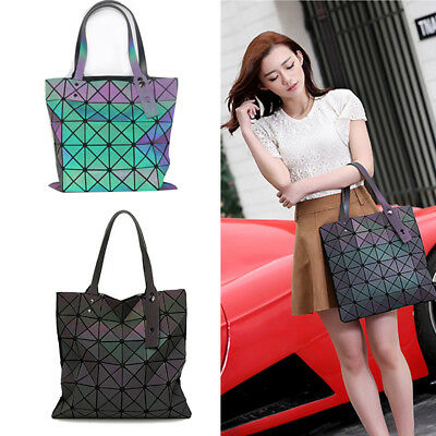 Fashion Luminous Geometric Handbag Purse Laser Totes Shoulder Bag Zipper Closure