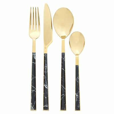 Avie 16Pc Black Faux Marble & Gold Finish Stainless Steel Cutlery Set