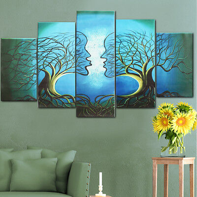 5 Panels Modern Abstract Love Lady Tree Canvas Painting Prints Wall Art Decor A