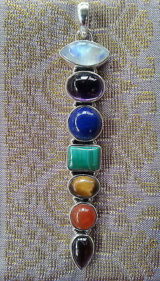 612 Chakra Solid 925 Sterling Silver pendant 7 genuine gemstones rrp$99.95