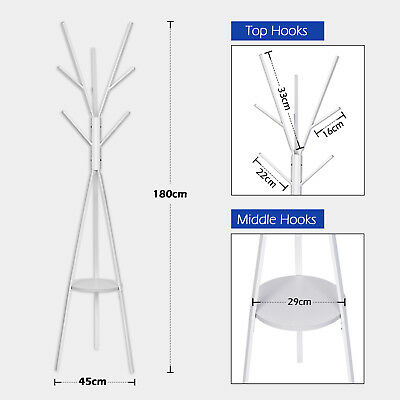 Coat Rack Coat Stand Entryway Coat Tree Hat Hanger Jacket Umbrella Tree Stand W