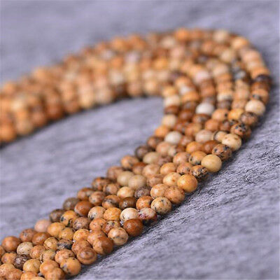 """1pcs 4MM Picture stone Faceted Gemstone Loose bead 15"""" Accessories Spacer"""