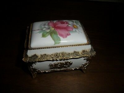 Vintage Japanese Mele Musical Brass & Porcelain Trinket Box. Very good condition