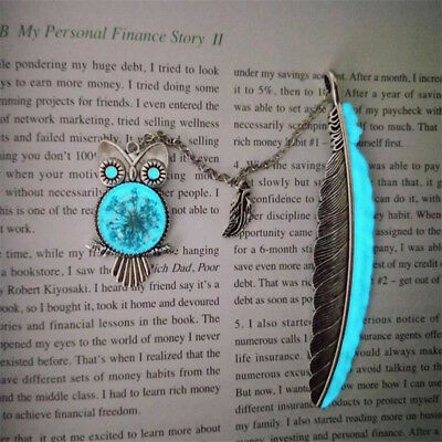 Silver Leaves Owl Feather Pendant Luminous Bookmark Student School Supplies LG