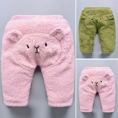 Winter Children Boys Warm Trousers Pants Kids Baby Toddler Cartoon Bear Bottoms