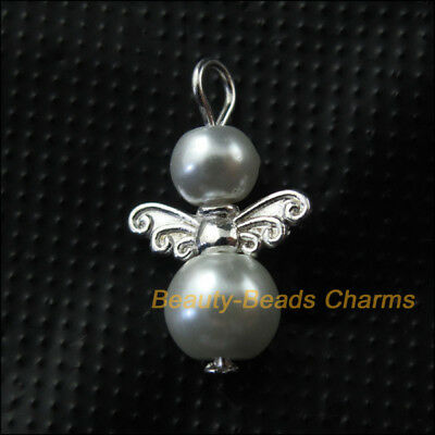 10Pcs Silver Plated Wings White Dancing Angel Charms Pendants 14x22mm
