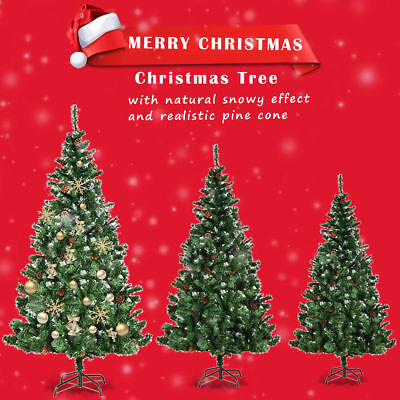 Artificial Xmas Christmas Tree Cone Snow Covered Large Trees Fence 5ft 6ft 7ft