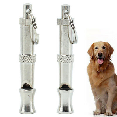 2x Dog Training Whistle Adjustable High ultrasonic Sound key Chain Puppy