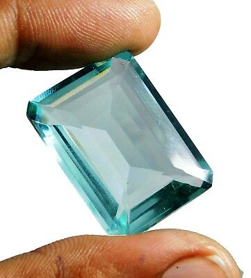 40.60cts. Natural Emerald Cut Translucent Ocean Aquamarine Loose Gemstone 1709