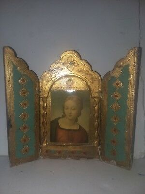 Antique Russian Orthodox Wood Hand Painted Mary Trifold Picture