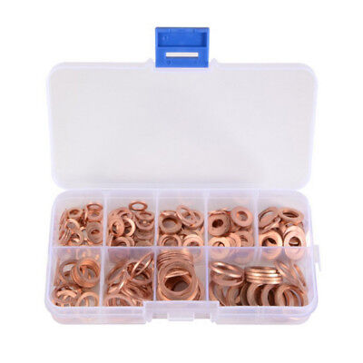 200pcs Assorted Washers Solid O-ring 200x Fittings Gaskets Kit 9 Seal Copper