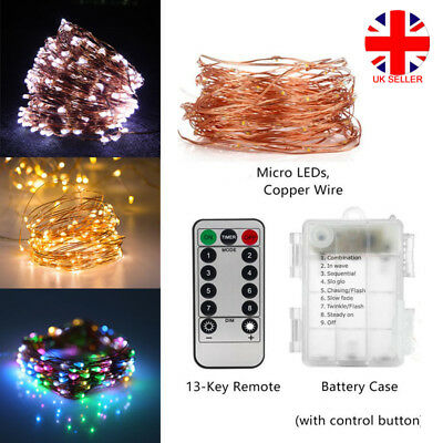 50/100/200 LED Copper Fairy Wire String Lights Remote Control Christmas Decor UK