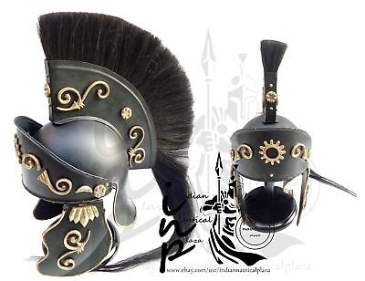 Medieval Greek Corinthian Helmet Black Plum Roman Knight King Trojan rennactment