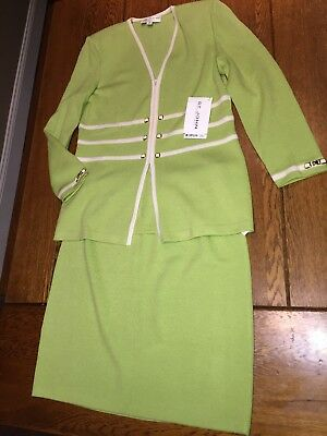 NEW ST. JOHN By Marie Gray Knit Skirt & Jacket Suit Size 10/12 NWT Green