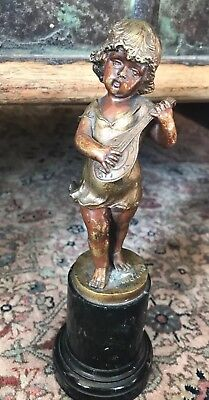 Signed Antique 19th C Bronze of a Girl/child playing lute on marble base
