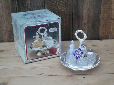5 Piece Silver Plated And Glass Condiment Set The Jewellers Collection Boxed J2