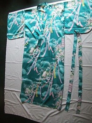 Vtg. Japanese Kimono Robe Belted Blue Floral Pagoda One Size Japan Satin EUC r1
