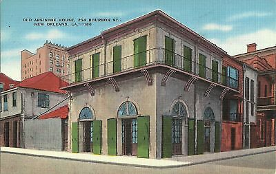 Old Vintage Absinthe House In New Orleans Louisiana Linen Postcard