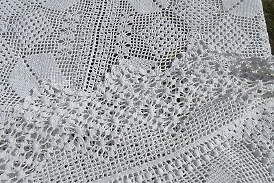 Antique French Hand Crocheted Lace Bedspread Crochet Bed Cover Throw