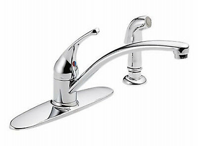 DELTA FAUCET CO Foundations Series Kitchen Faucet With Spray, 1-Handle, Chrome