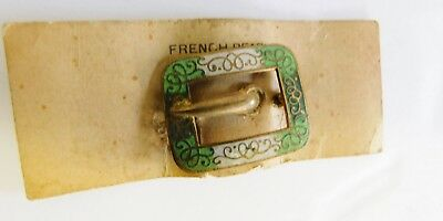 Antique Vintage Deco French Pearl Buckle Brooch Pin Gold Tone C Clasp Enamel