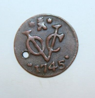 1745 Netherlands East Indies 1 Duit  Copper Coin