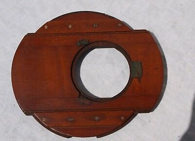 Antique Large Round Wooden Sliding Lens Mounting Board For Mahogany Cameras