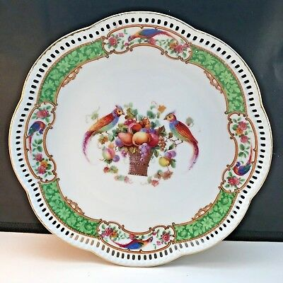Dresden Schumann Bavaria Reticulated Pierced (2) Plates Pheasants Flowers 8.5""
