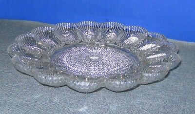 """Vintage Cut Glass Clear Deviled Egg Plate Serving Tray 11"""" Hobnail Indiana glass"""