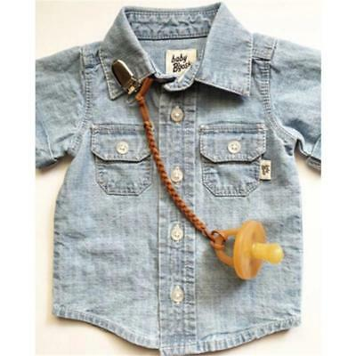 Infant Baby Toddler Dummy Pacifier Wooden Soother Nipple Clip Chain Holder H