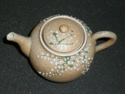 Antique Clay Teapot, Japan Moriage Meiji, orange peel, plum blossoms, 1800s