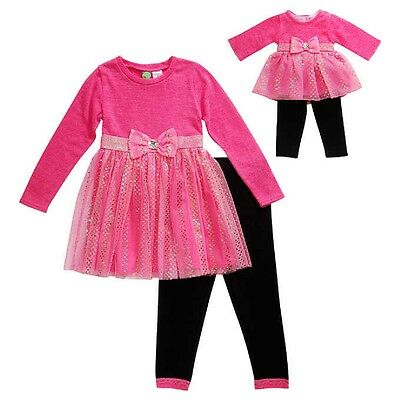 "NWT Pink Girls Dollie & Me & Matching Doll outfit fits 18"" American Girl Size 5"
