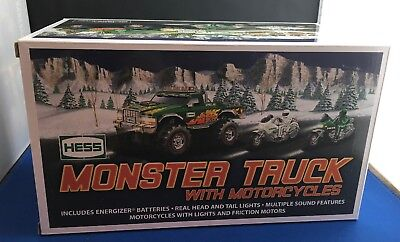 Hess Trucks Toy Monster Truck with Motorcycles 2007 New in Box Collector
