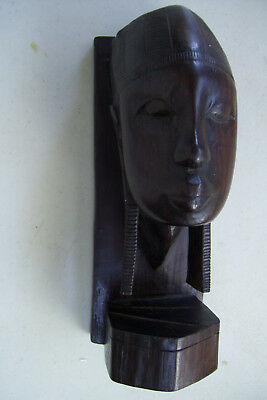 Vintage Hand Carved Wood Statues Head  Face Very Heavy African Tribal Figurine