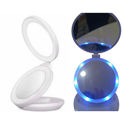 1X/10X Magnification Double Side LED Lighted Makeup Folding Compact Mini Mirror