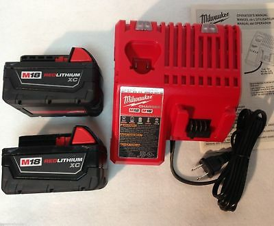 New Milwaukee (2) 3.0AH 48-11-1828 M18 Red Lithium Batteries (1) Charger
